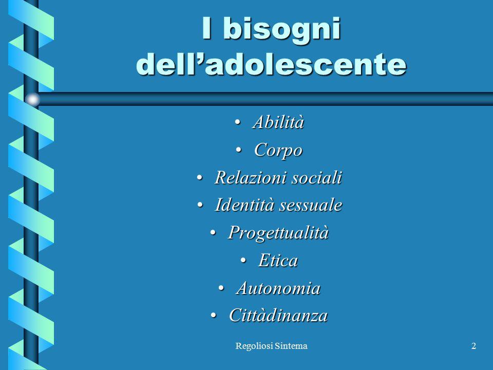 Regoliosi Sintema2 I bisogni dell'adolescente AbilitàAbilità CorpoCorpo Relazioni socialiRelazioni sociali Identità sessualeIdentità sessuale Progettu
