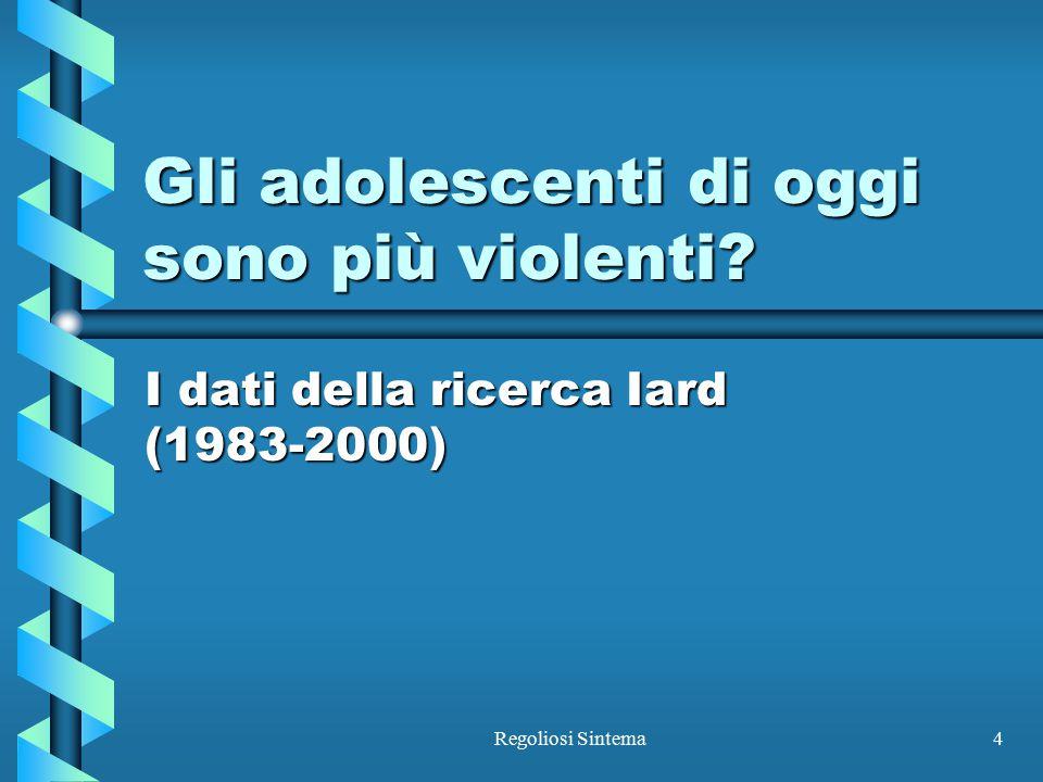 Regoliosi Sintema4 Gli adolescenti di oggi sono più violenti? I dati della ricerca Iard (1983-2000)