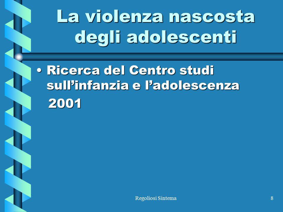 Regoliosi Sintema8 La violenza nascosta degli adolescenti Ricerca del Centro studi sull'infanzia e l'adolescenzaRicerca del Centro studi sull'infanzia
