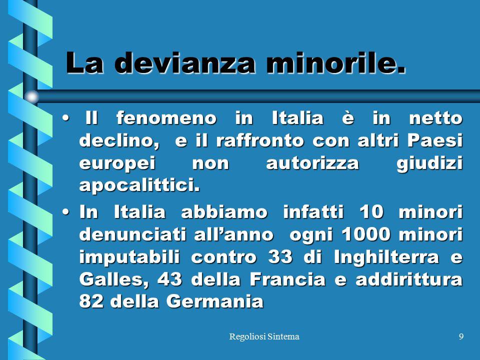 Regoliosi Sintema9 La devianza minorile. Il fenomeno in Italia è in netto declino, e il raffronto con altri Paesi europei non autorizza giudizi apocal