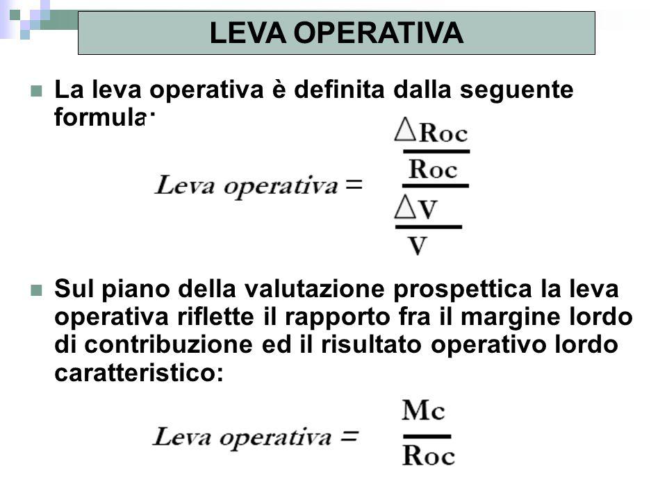 La leva operativa è definita dalla seguente formula: Sul piano della valutazione prospettica la leva operativa riflette il rapporto fra il margine lor