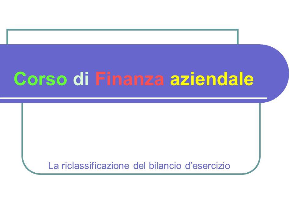 Corso di Finanza aziendale La riclassificazione del bilancio d'esercizio