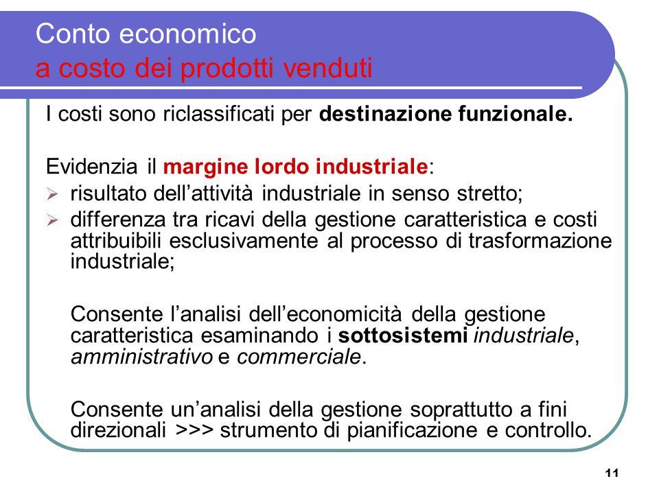 11 Conto economico a costo dei prodotti venduti I costi sono riclassificati per destinazione funzionale. Evidenzia il margine lordo industriale:  ris