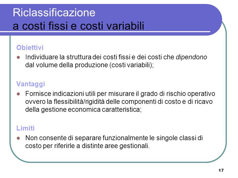 17 Riclassificazione a costi fissi e costi variabili Obiettivi Individuare la struttura dei costi fissi e dei costi che dipendono dal volume della pro