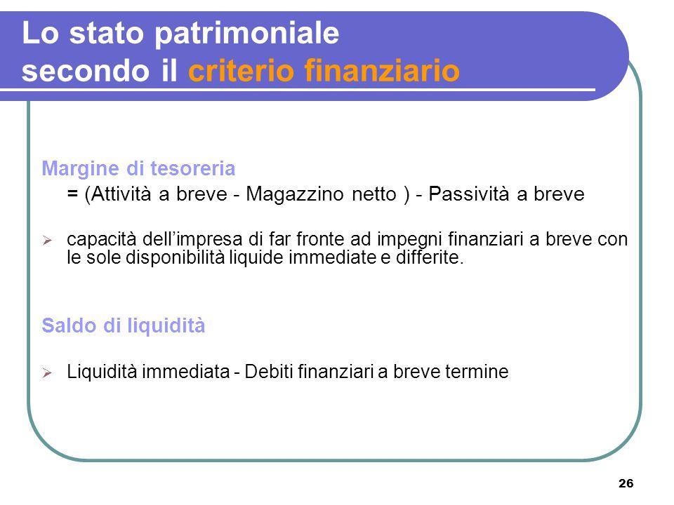 26 Lo stato patrimoniale secondo il criterio finanziario Margine di tesoreria = (Attività a breve - Magazzino netto ) - Passività a breve  capacità d