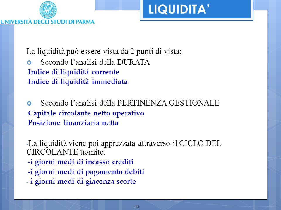 103 La liquidità può essere vista da 2 punti di vista:  Secondo l'analisi della DURATA - Indice di liquidità corrente - Indice di liquidità immediata