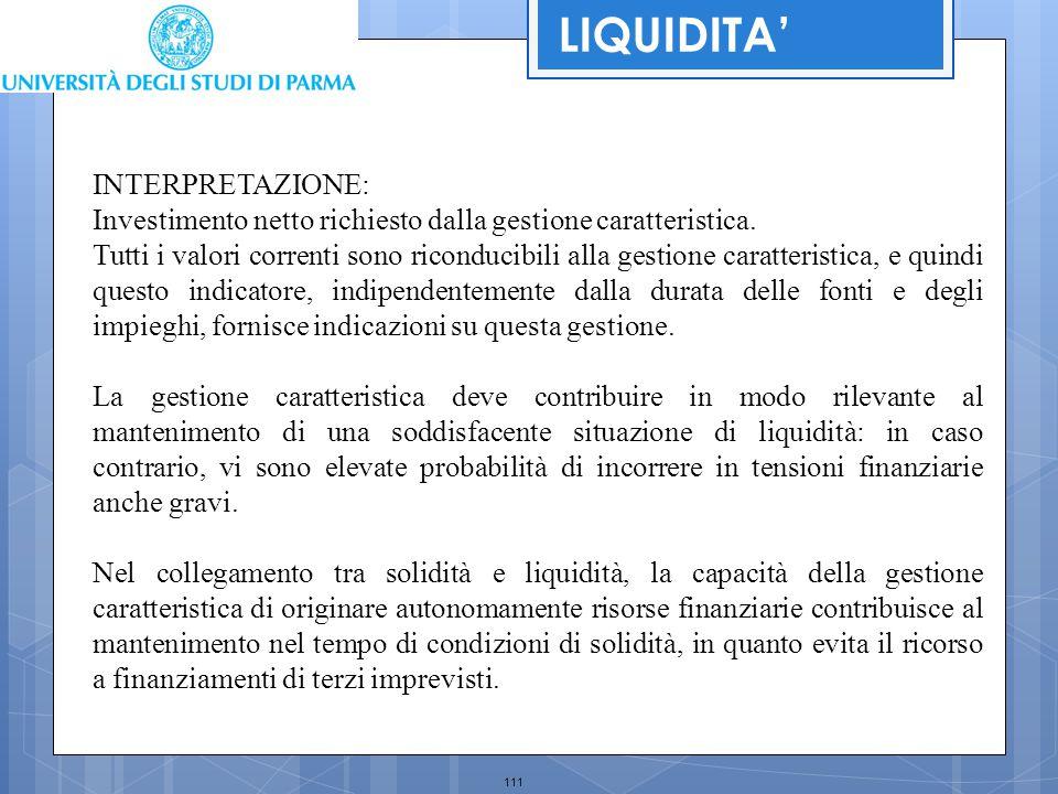 111 INTERPRETAZIONE: Investimento netto richiesto dalla gestione caratteristica. Tutti i valori correnti sono riconducibili alla gestione caratteristi