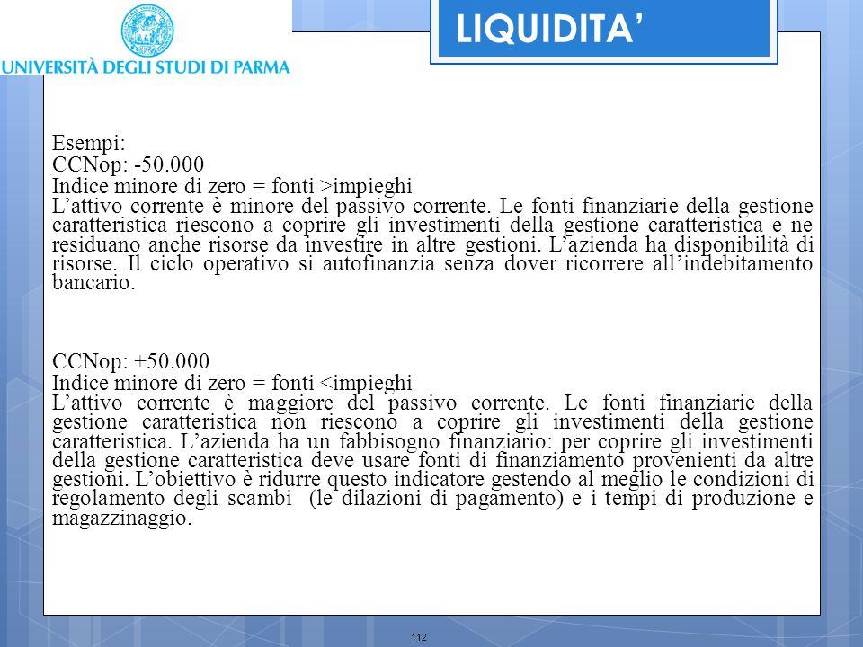 112 LIQUIDITA' Esempi: CCNop: -50.000 Indice minore di zero = fonti >impieghi L'attivo corrente è minore del passivo corrente. Le fonti finanziarie de