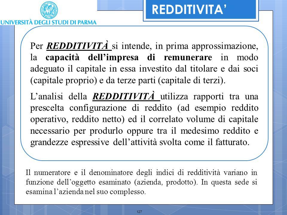 127 Per REDDITIVITÀ si intende, in prima approssimazione, la capacità dell'impresa di remunerare in modo adeguato il capitale in essa investito dal ti