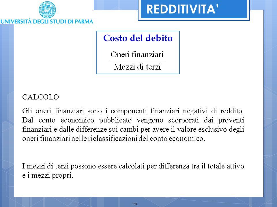 138 Costo del debito REDDITIVITA' CALCOLO Gli oneri finanziari sono i componenti finanziari negativi di reddito. Dal conto economico pubblicato vengon