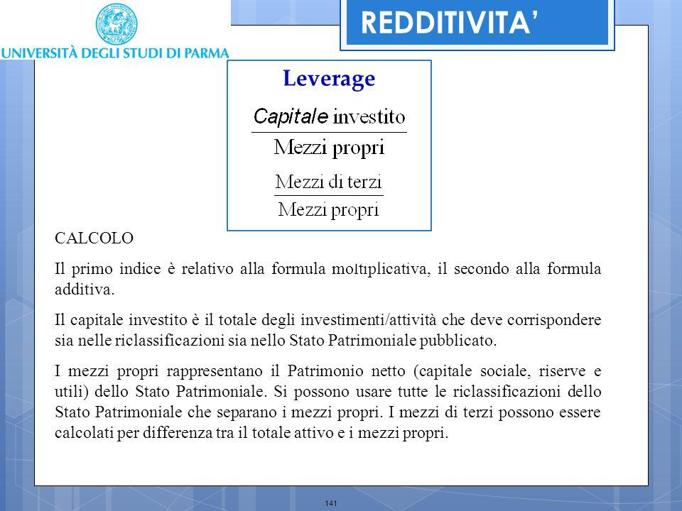 141 Leverage CALCOLO Il primo indice è relativo alla formula moltiplicativa, il secondo alla formula additiva. Il capitale investito è il totale degli