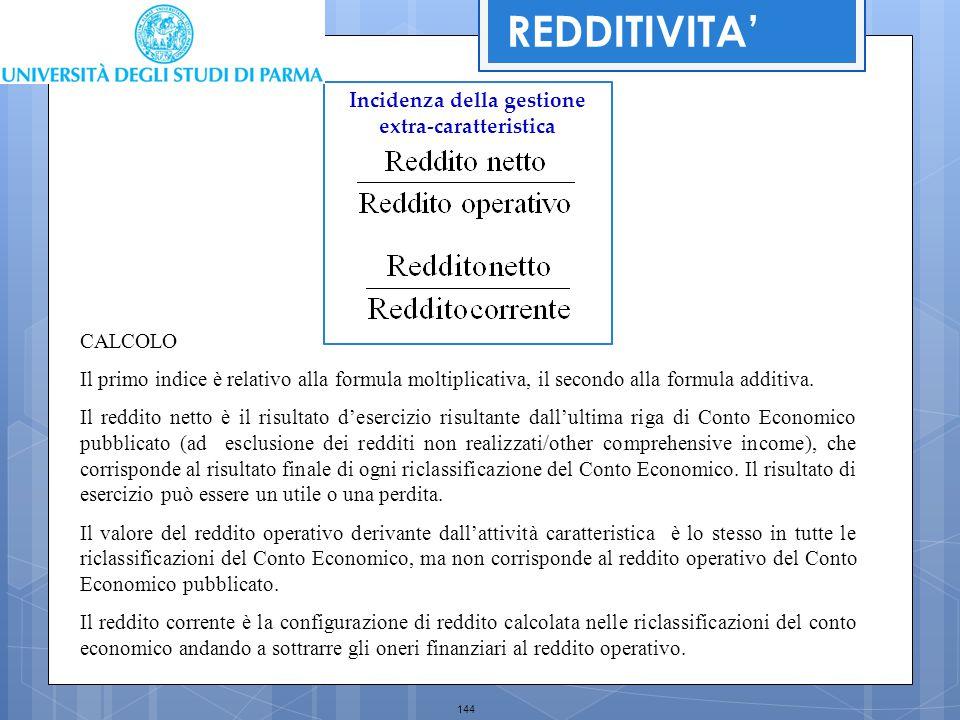 144 Incidenza della gestione extra-caratteristica CALCOLO Il primo indice è relativo alla formula moltiplicativa, il secondo alla formula additiva. Il