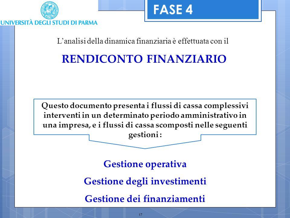 17 L'analisi della dinamica finanziaria è effettuata con il RENDICONTO FINANZIARIO FASE 4 Questo documento presenta i flussi di cassa complessivi inte