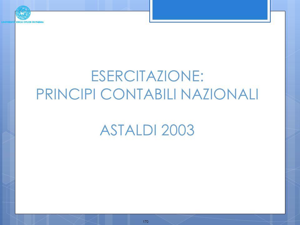 170 ESERCITAZIONE: PRINCIPI CONTABILI NAZIONALI ASTALDI 2003