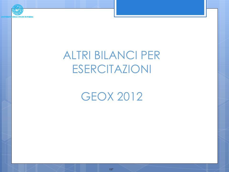 197 ALTRI BILANCI PER ESERCITAZIONI GEOX 2012