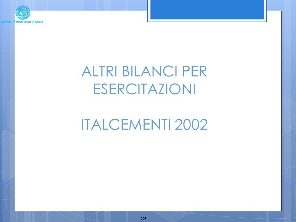 206 ALTRI BILANCI PER ESERCITAZIONI ITALCEMENTI 2002