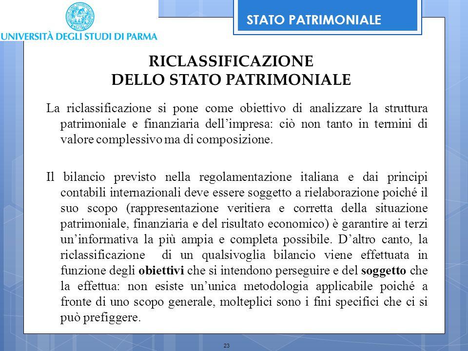 23 RICLASSIFICAZIONE DELLO STATO PATRIMONIALE La riclassificazione si pone come obiettivo di analizzare la struttura patrimoniale e finanziaria dell'i