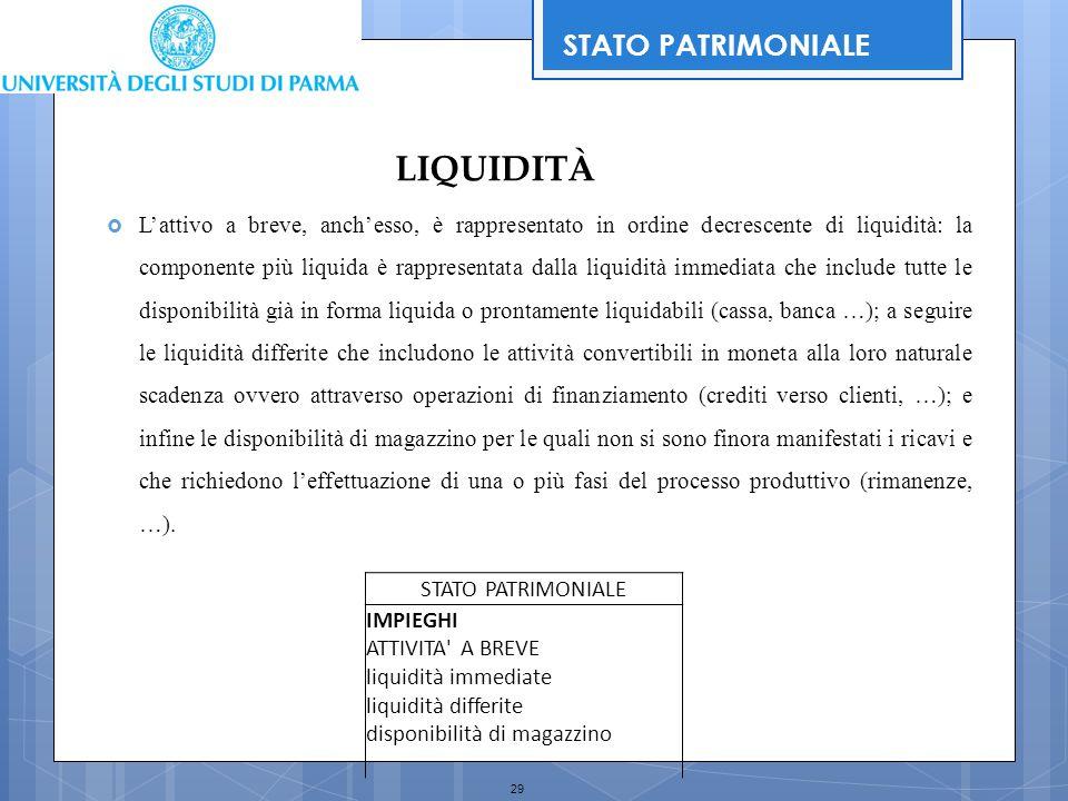 29  L'attivo a breve, anch'esso, è rappresentato in ordine decrescente di liquidità: la componente più liquida è rappresentata dalla liquidità immedi