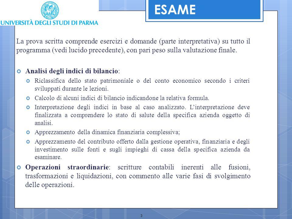 3 ESAME La prova scritta comprende esercizi e domande (parte interpretativa) su tutto il programma (vedi lucido precedente), con pari peso sulla valut
