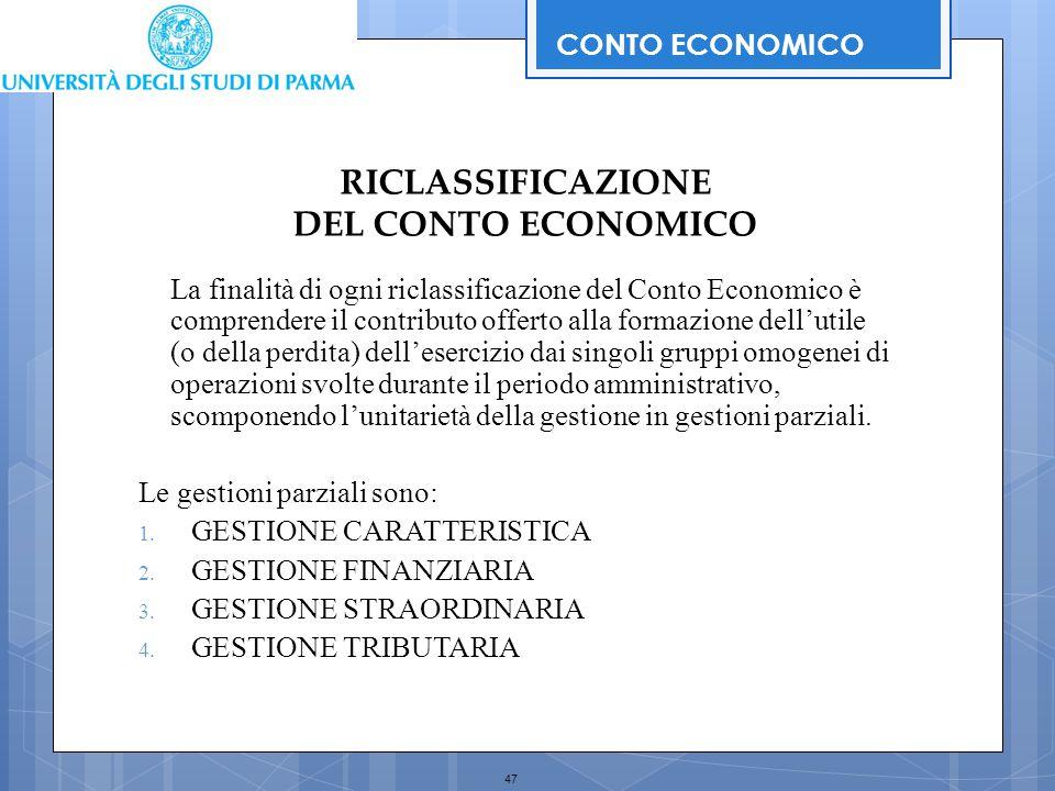 47 RICLASSIFICAZIONE DEL CONTO ECONOMICO La finalità di ogni riclassificazione del Conto Economico è comprendere il contributo offerto alla formazione