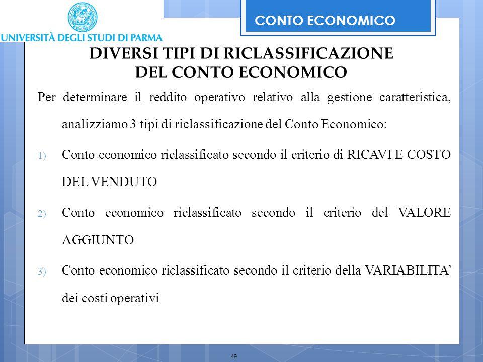 49 Per determinare il reddito operativo relativo alla gestione caratteristica, analizziamo 3 tipi di riclassificazione del Conto Economico: 1) Conto e