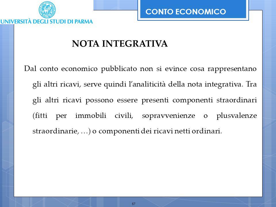 57 Dal conto economico pubblicato non si evince cosa rappresentano gli altri ricavi, serve quindi l'analiticità della nota integrativa. Tra gli altri