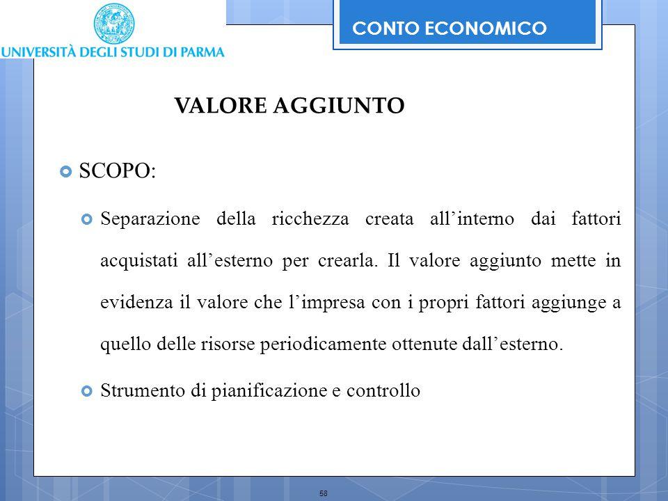58  SCOPO:  Separazione della ricchezza creata all'interno dai fattori acquistati all'esterno per crearla. Il valore aggiunto mette in evidenza il v