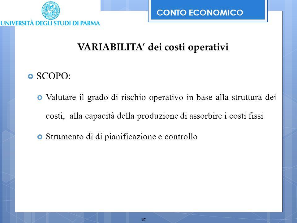 67  SCOPO:  Valutare il grado di rischio operativo in base alla struttura dei costi, alla capacità della produzione di assorbire i costi fissi  Str