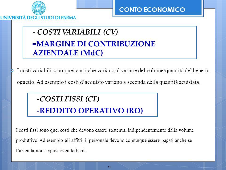 71 CONTO ECONOMICO - COSTI VARIABILI (CV) =MARGINE DI CONTRIBUZIONE AZIENDALE (MdC) -COSTI FISSI (CF) -REDDITO OPERATIVO (RO)  I costi variabili sono