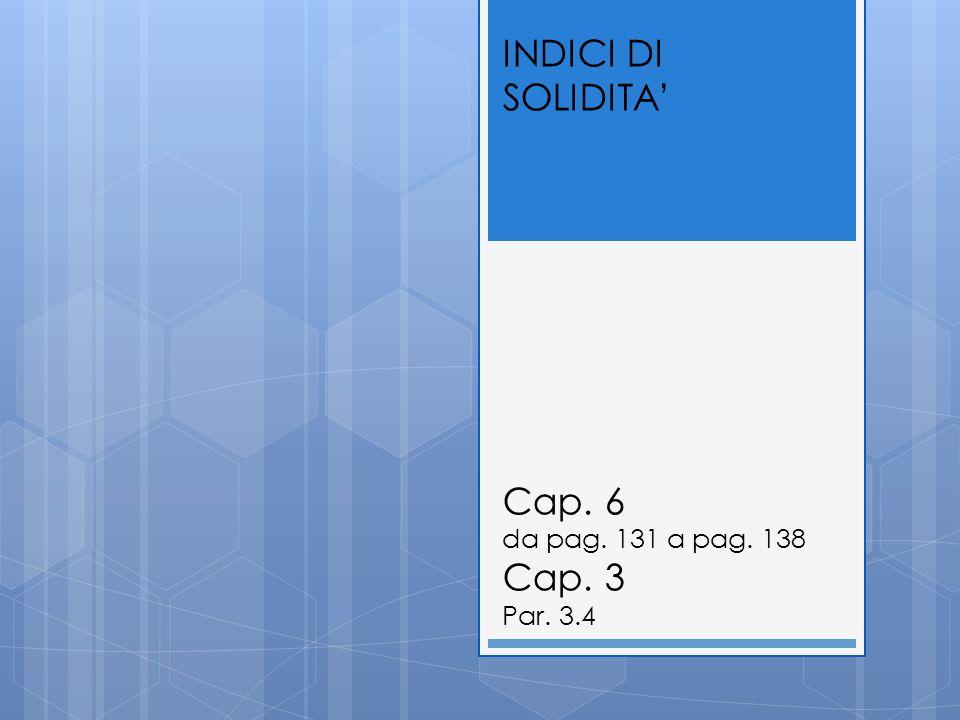 INDICI DI SOLIDITA' Cap. 6 da pag. 131 a pag. 138 Cap. 3 Par. 3.4