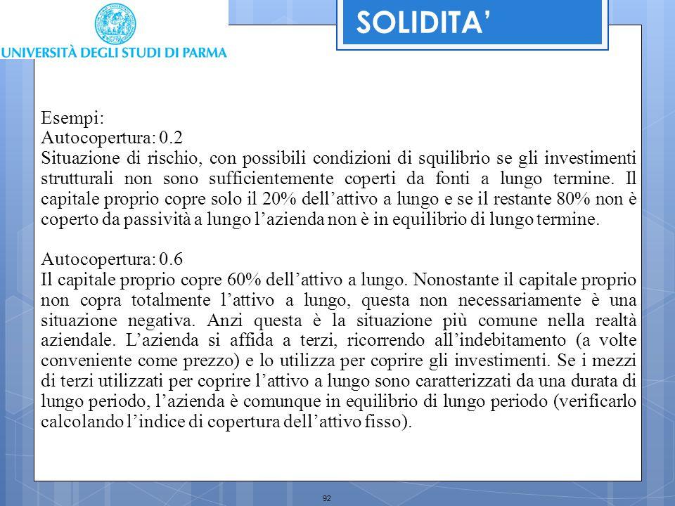 92 SOLIDITA' Esempi: Autocopertura: 0.2 Situazione di rischio, con possibili condizioni di squilibrio se gli investimenti strutturali non sono suffici