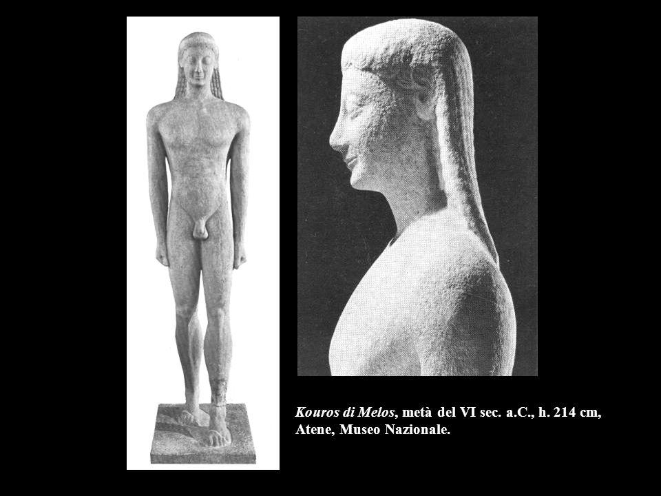 Kouros di Melos, metà del VI sec. a.C., h. 214 cm, Atene, Museo Nazionale.