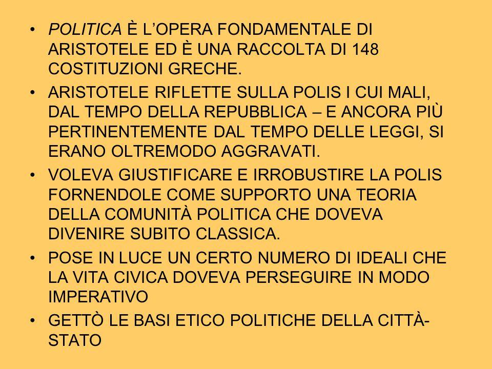 POLITICA È L'OPERA FONDAMENTALE DI ARISTOTELE ED È UNA RACCOLTA DI 148 COSTITUZIONI GRECHE. ARISTOTELE RIFLETTE SULLA POLIS I CUI MALI, DAL TEMPO DELL
