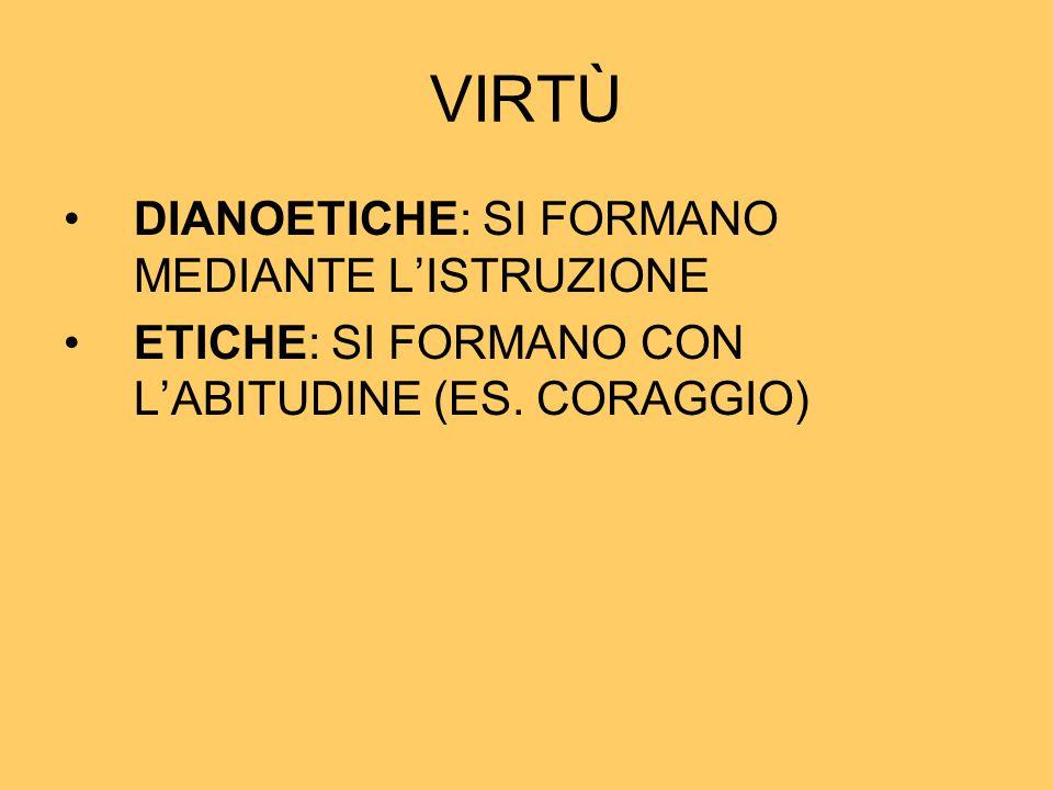 VIRTÙ DIANOETICHE: SI FORMANO MEDIANTE L'ISTRUZIONE ETICHE: SI FORMANO CON L'ABITUDINE (ES. CORAGGIO)