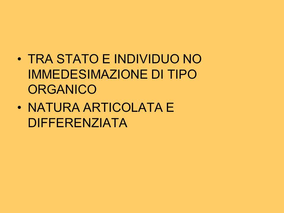 TRA STATO E INDIVIDUO NO IMMEDESIMAZIONE DI TIPO ORGANICO NATURA ARTICOLATA E DIFFERENZIATA