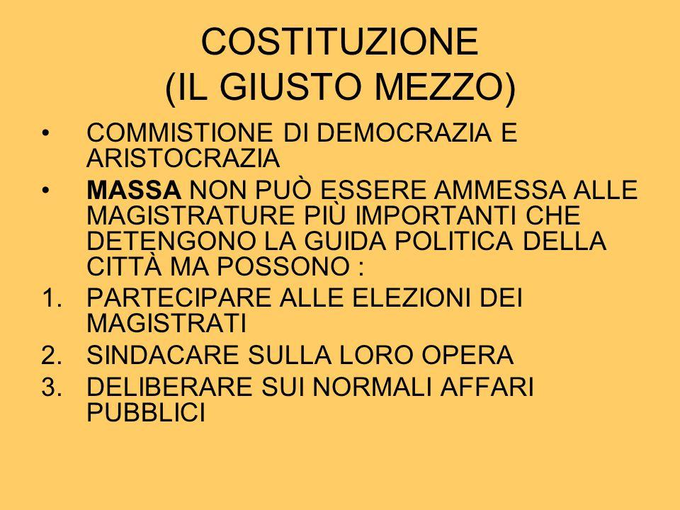 COSTITUZIONE (IL GIUSTO MEZZO) COMMISTIONE DI DEMOCRAZIA E ARISTOCRAZIA MASSA NON PUÒ ESSERE AMMESSA ALLE MAGISTRATURE PIÙ IMPORTANTI CHE DETENGONO LA