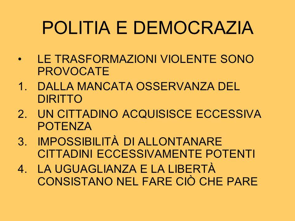 POLITIA E DEMOCRAZIA LE TRASFORMAZIONI VIOLENTE SONO PROVOCATE 1.DALLA MANCATA OSSERVANZA DEL DIRITTO 2.UN CITTADINO ACQUISISCE ECCESSIVA POTENZA 3.IM