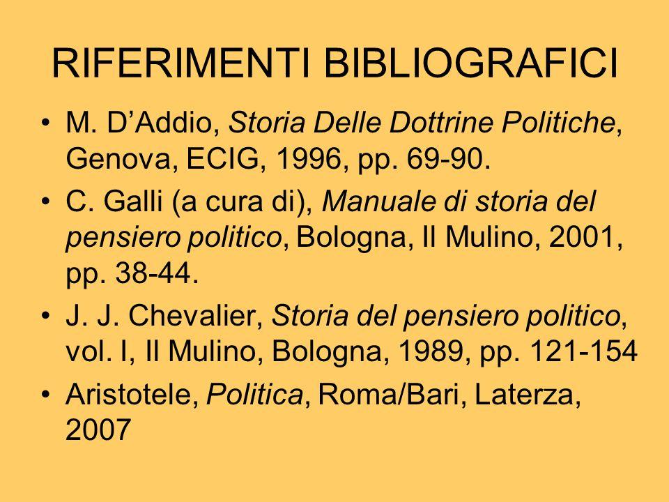 RIFERIMENTI BIBLIOGRAFICI M. D'Addio, Storia Delle Dottrine Politiche, Genova, ECIG, 1996, pp. 69-90. C. Galli (a cura di), Manuale di storia del pens
