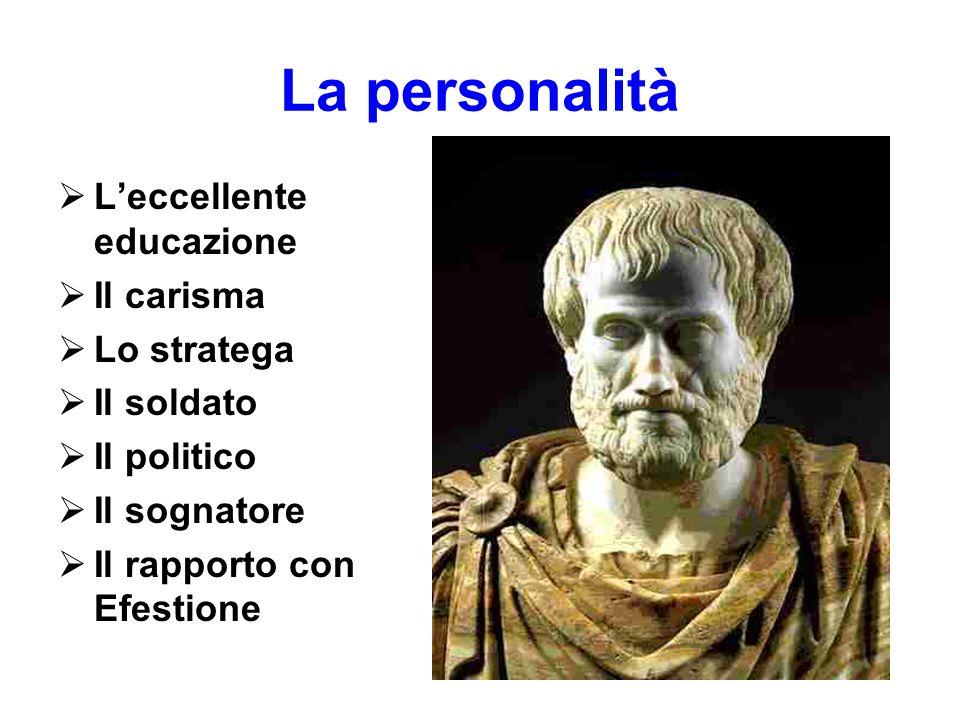 La personalità  L'eccellente educazione  Il carisma  Lo stratega  Il soldato  Il politico  Il sognatore  Il rapporto con Efestione