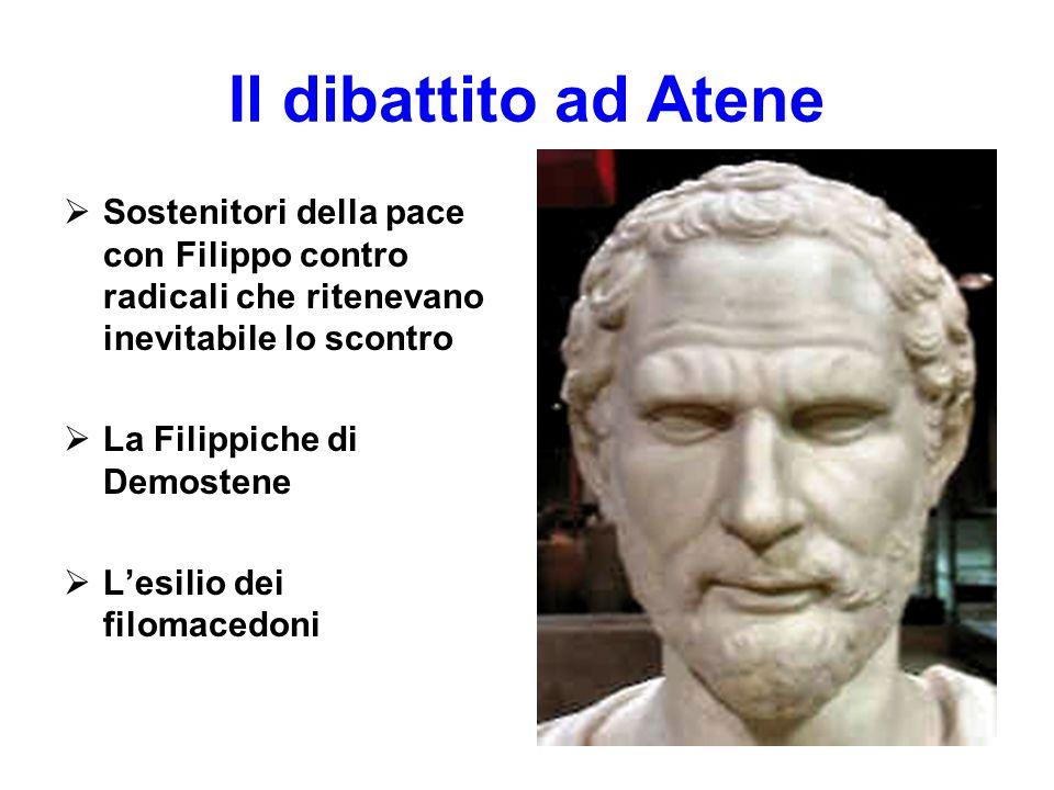 Il dibattito ad Atene  Sostenitori della pace con Filippo contro radicali che ritenevano inevitabile lo scontro  La Filippiche di Demostene  L'esil