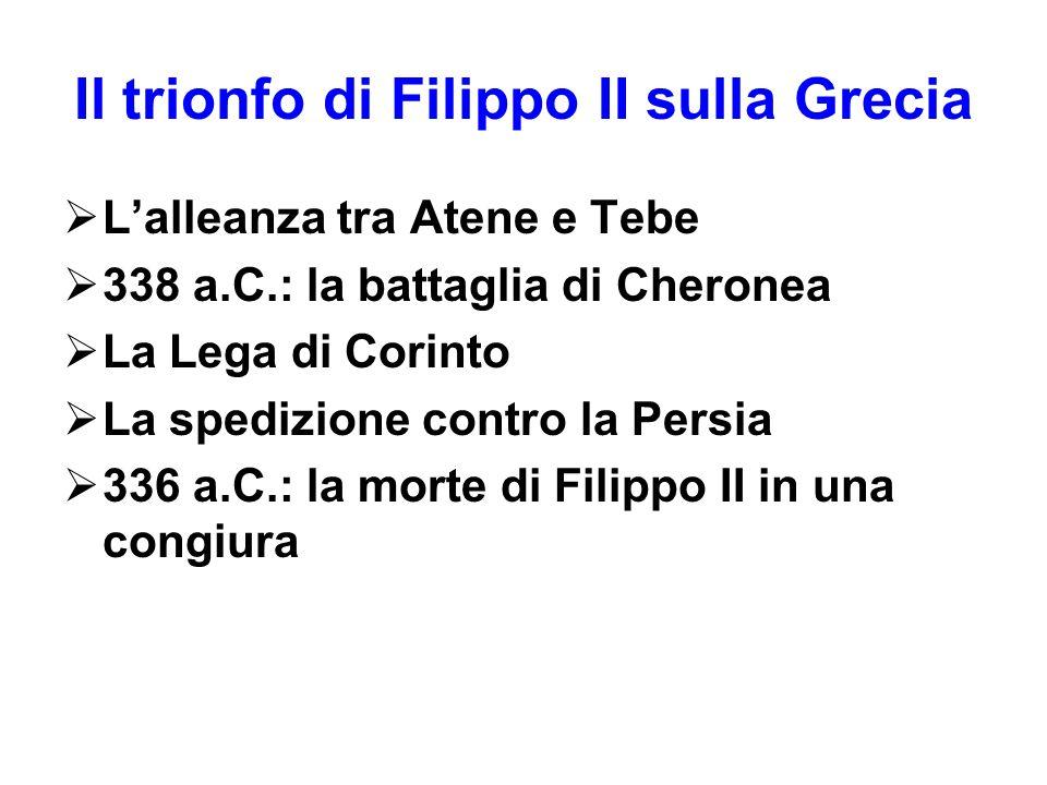Il trionfo di Filippo II sulla Grecia  L'alleanza tra Atene e Tebe  338 a.C.: la battaglia di Cheronea  La Lega di Corinto  La spedizione contro l
