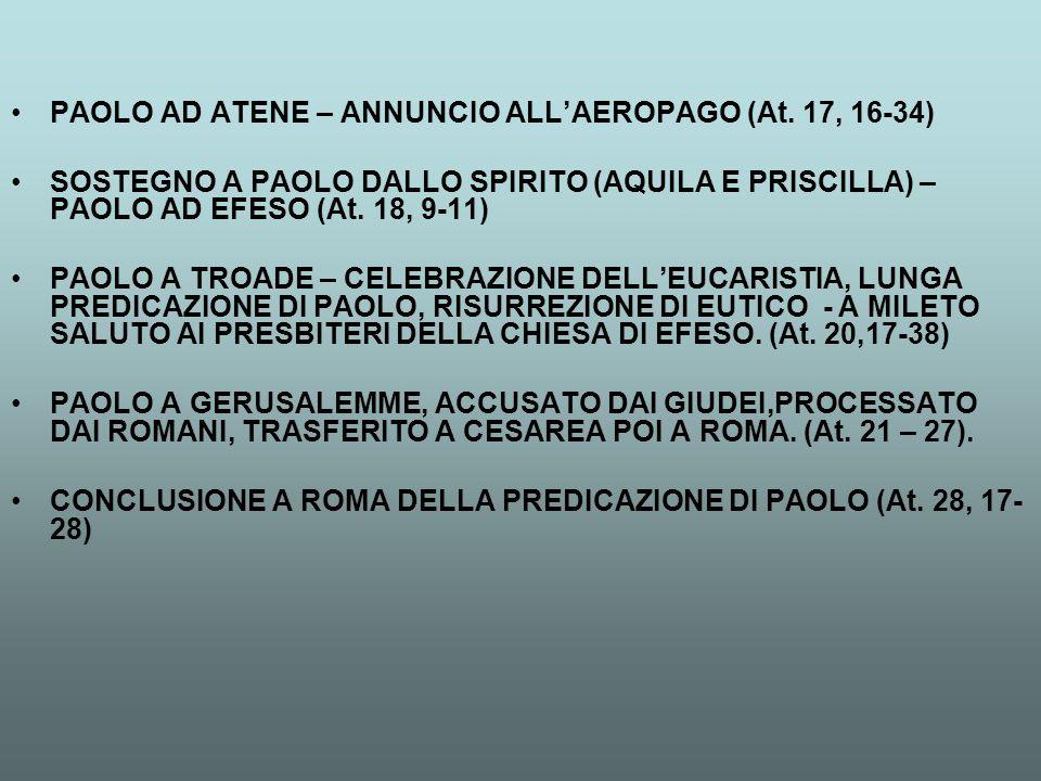 PAOLO AD ATENE – ANNUNCIO ALL'AEROPAGO (At. 17, 16-34) SOSTEGNO A PAOLO DALLO SPIRITO (AQUILA E PRISCILLA) – PAOLO AD EFESO (At. 18, 9-11) PAOLO A TRO
