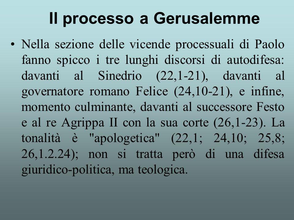 Nella sezione delle vicende processuali di Paolo fanno spicco i tre lunghi discorsi di autodifesa: davanti al Sinedrio (22,1-21), davanti al governato