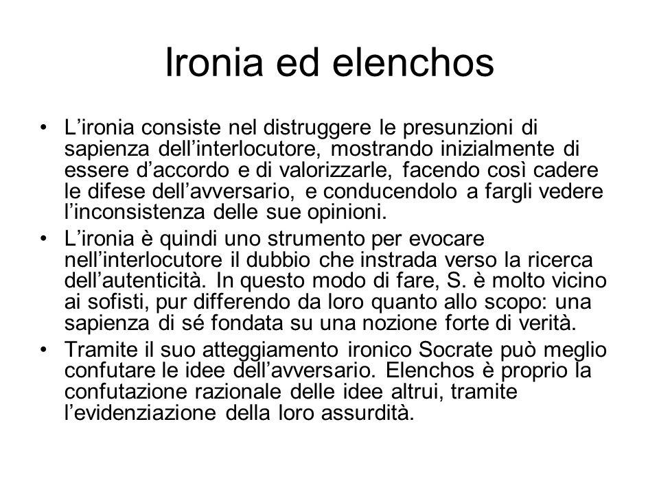Ironia ed elenchos L'ironia consiste nel distruggere le presunzioni di sapienza dell'interlocutore, mostrando inizialmente di essere d'accordo e di va