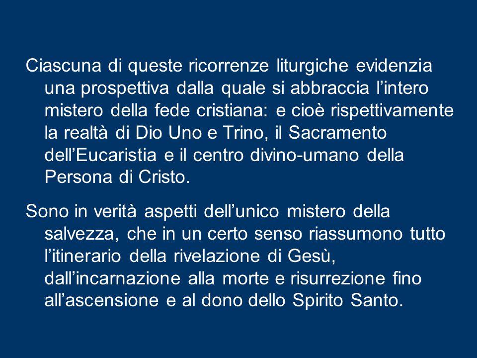 Giovedì prossimo, quella del Corpus Domini, che, in molti Paesi tra cui l'Italia, verrà celebrata domenica prossima; e infine, il venerdì successivo,