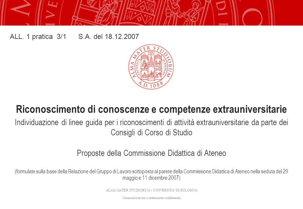 ALMA MATER STUDIORUM – UNIVERSITA' DI BOLOGNA Materiale riservato e strettamente confidenziale Riconoscimento di conoscenze e competenze extrauniversi