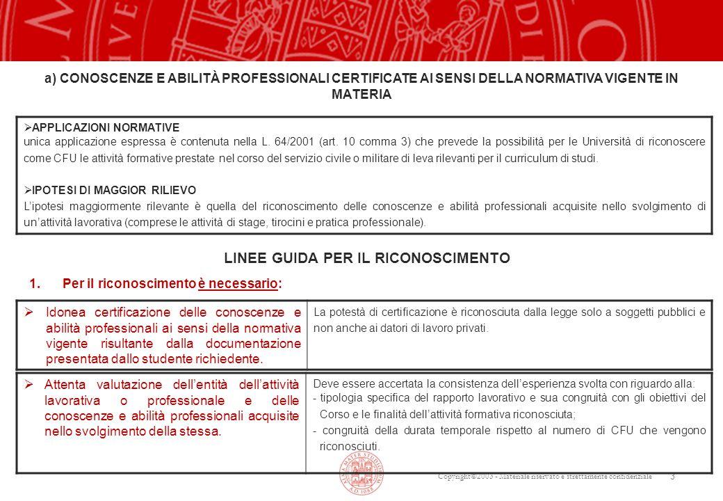 Copyright©2003 - Materiale riservato e strettamente confidenziale 3  APPLICAZIONI NORMATIVE unica applicazione espressa è contenuta nella L.