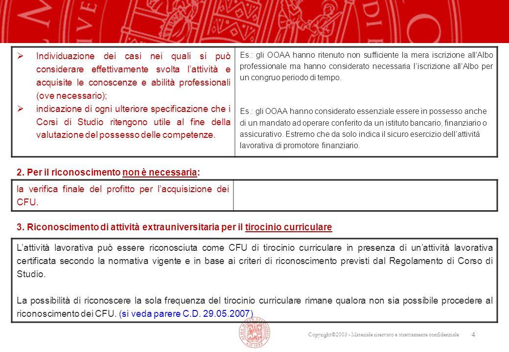 Copyright©2003 - Materiale riservato e strettamente confidenziale 4  Individuazione dei casi nei quali si può considerare effettivamente svolta l'att
