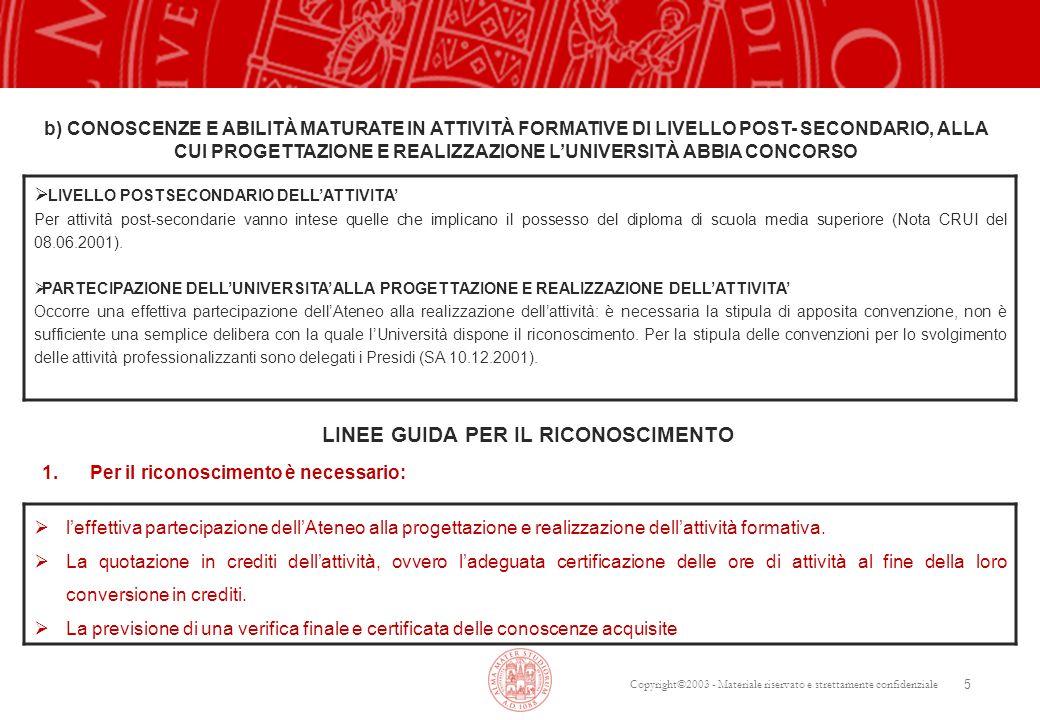 Copyright©2003 - Materiale riservato e strettamente confidenziale 5  LIVELLO POSTSECONDARIO DELL'ATTIVITA' Per attività post-secondarie vanno intese