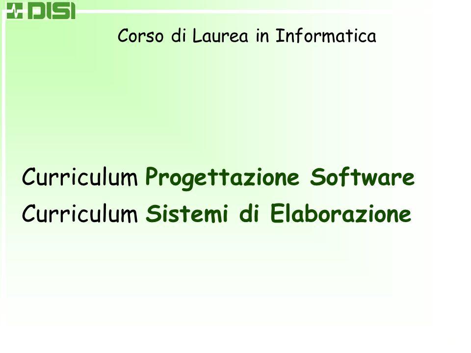 Corso di Laurea in Informatica Curriculum Progettazione Software Curriculum Sistemi di Elaborazione